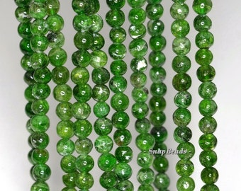 7mm Chrome Diopsite Gemstone Green Round 7mm Loose Beads 7.5 inch Half Strand (90181601-168)
