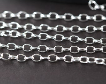 Silver Chain Bulk, Oval Cable Chain for Him, Oval Rolo Chain 4x2.9 mm 925 Sterling Silver Wholesale, 3 5 10 30 Feet SS004