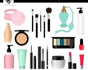Makeup Digital Clipart-Cosmetics-Lipstick-Perfume-Fashion-Lotion-Scrapbooking Graphics-Slumber Party-Invitations-Instant Download Clip Art