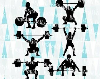 Weightlifter SVG, Weightlifter Bundle SVG, Crossfit SVG, Weights Svg, Sport Svg, Instant download, Weight lifting Svg, Eps - Dxf - Png - Svg