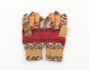 Hand Knitted Gloves - Brown, Red and Beige, Size Small/Medium