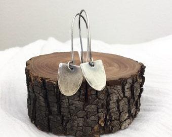 Scallop Earrings, Oxidized Silver