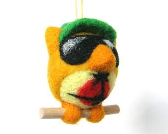 OWL tourist. Figurine felted wool