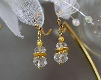 Crystal Clear Glass Gold Disc Drop Earrings, Clear Earrings, Fancy Earrings, Formal Earrings, Bridal Earrings,Wedding Attire, Short Earrings