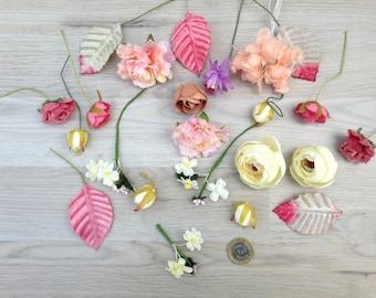 25 mix flowers bag, Floral Accents, Floral Supplies, Artificial flower, silk flowers, wreath supplies, millinery supplies, flowers, mix