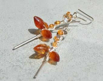 Hessonite Garnet and sterling silver Spessartite - dangle earrings 925 sterling silver stone-precious stone Christin stick earrings