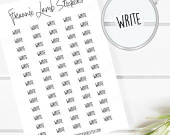 Write Planner Stickers (COLOR OPTIONS), 52 Clear Matte Stickers, Planner Stickers, Text Stickers, See Through Stickers, Work Stickers