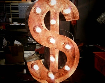"""20"""" / 50cm Rusted Steel Dollar Sign Marquee Letter Light - Made In Britain"""