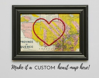 Custom Hand Embroidered Heart Map, Handmade, Paper, Cotton Anniversary, Mother's Day Gift, Love, Personalized Gift, Engagement Gift, Travel