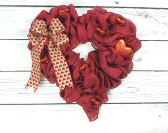 Red Heart Valentine Wreath, Burlap Valentine's Wreath, Heart Shaped Wreath, Valentine's Day Decor, Valentine's Wreath, Burlap Heart Wreath