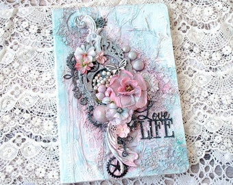 Romantic - Shabby Chic style journal - notebook - handmade book -  blank book - Gift for her - A4