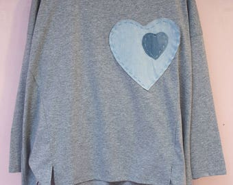 Gray T-Shirt heart in heart