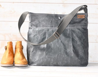 Diaper bag,Waxed canvas bag,Messenger bag,adult bag, gift for her,cross body bag,bike bag,travel bag,gray bag