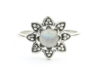 Moonstone Flower Ring, Sterling Silver Moonstone Ring, Mandala Moonstone Ring, Stone Jewelry, Gemstone, Crystal, Boho, Gypsy, Hippie Jewelry