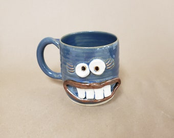 Optimist Woman Coffee Cup Mom Wife Sister Gift. Mugs for Her. Funny Unique Office Face Mug Blue. Looking on the Bright Side. Large 16 Ounce