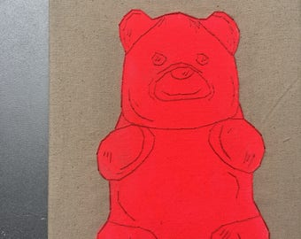 Pink Gummy Bear - hand drawn, painted and embroidered wall hanging