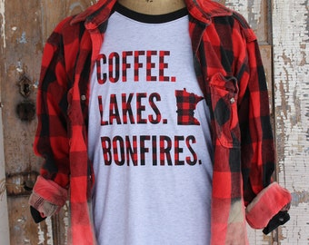 COFFEE LAKES BONFIRES Red Black Buffilo Plaid White and Charcoal Heathered Gray Baseball T Shirt