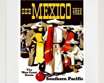 Art Mexico Travel Poster Mexican Vintage Print (ZT158)