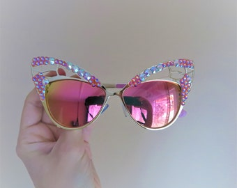 Pink cat eye butterfly sunglasses festival sunglasses Burning Man goggles mirror sunglasses embellished shades cateye sunnies