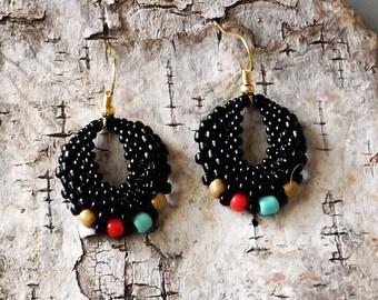 Beaded Statement Earrings - Bead Weaving Jewelry - Round Dangles - BOHO