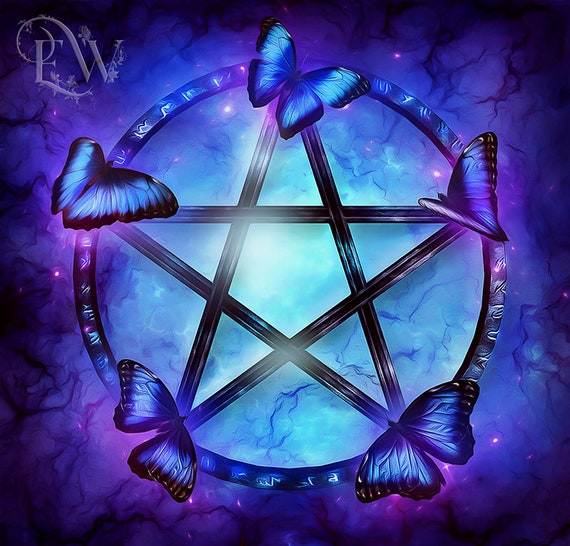 mystical Pentacle and butterflies WIccan art print