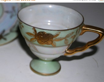 on sale vintage lefton demitasse cup and saucer green and gold china