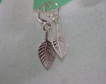 Earrings leaves sterling silver.