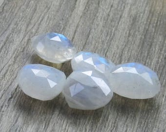 15mm Sparkling Snow White Faceted Moonstone Heart Teardrop AAA Beads- 2 Pieces