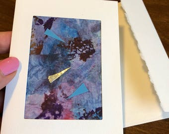 On Target ACEO mixed media greeting card
