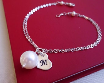 Bridal jewelry gift sets, SET OF FIVE: Pearl bracelets, Natural pearls, Personalized bridesmaid gifts, wedding jewelry,  Initial bracelets