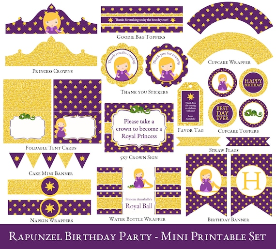 sc 1 st  Etsy & Rapunzel Party Mini Set Rapunzel Birthday Party Printable
