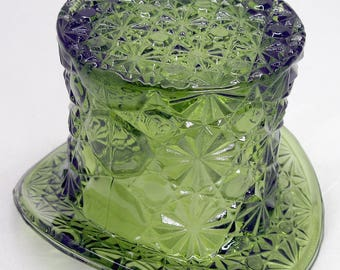 "Vintage Daisy & Button Glass Top Hat VASE 3-1/4"" x 4-3/4"" 1960s - 1970s"
