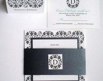 Black and white Wedding Invitation set, elegant wedding invitations, luxury invitation, Turquoise invite, unique bat mitzvah invite, formal