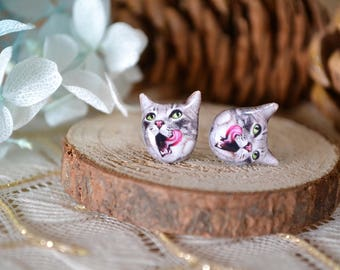 Tongue Out cat surgical steel earrings handmade Tiny Jewelry with linen cotton bag