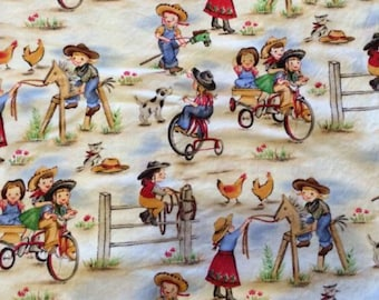 Michael Miller vintage retro style Lil Cowgirls fabric, cowboy fabric, 50's style fabric, novelty fabric, western style, retro