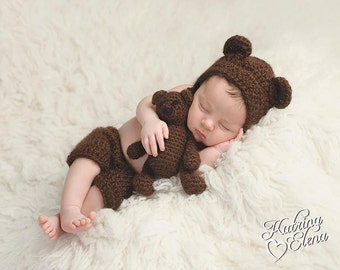 Baby Bear Bonnet and Shorts/ Newborn Photo Prop/ Baby Boy Prop/ Baby Girl Prop/ Baby Bear Hat/Woodland Theme Nursery/Stuffed Bear Prop