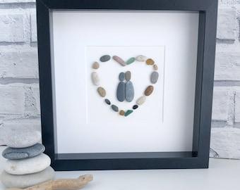 Handmade Pebble Art,  Sea-glass Art, Couple Pebble Picture , Pebble Gifts, Heart Pebble Pictures. Wedding Pebble Gift, Housewarming Gift,