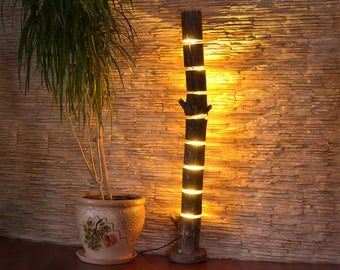 Wooden Floor Lamp Is Made Of Natural Logs