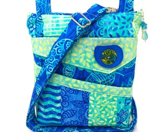 Small Crossbody Bag Turquoise Blue Lime Green Stripes Tropical