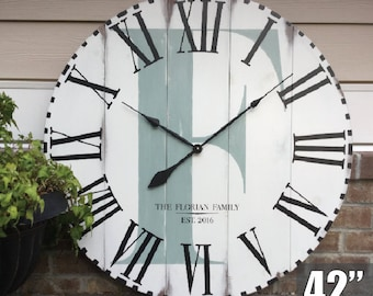 Large Wall Clock, Giant Wall Clock, Unique Wall Clock, FunCoolWallClocks, Rustic Home Décor, 5th Anniversary Gift for Couple, Family Name
