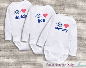 INSTANT DOWNLOAD, 3 in ONE, I Love You, Mommy & Daddy Iron-ons, Onesie Iron-on