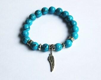 10mm Turquoise blue Magnesite Bead bracelet, Turquoise bracelet,  Blue gemstone bracelet, Adjustable length