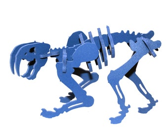 Dinosaur Puzzle, Dinosaur Toy, MINIATURE 3D Dinosaur Skeleton Puzzle, Recyclable PVC Smilodon, BLUE, Saber Tooth Tiger Toy