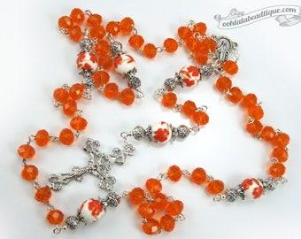 Orange crystal Rosary confirmation gift catholic rosary girls rosaries communion rosary baptism rosary ladies rosaries orange rosary prayer