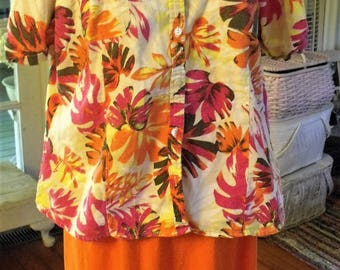 2X, 2pc Orange-Tropical Print Skirt and Top-Jacket, Linen-Rayon Print Tunic-Jacket, 2-X Cotton Knit Skirt, Shabbyfab Thrifted Funwear