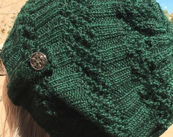 Handknit wool  ribbed lace hat