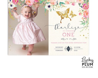 Butterfly Birthday Invitation / Pink Gold Birthday Invitation / First Birthday Invitation / Woodland Birthday Animal Insect BY01