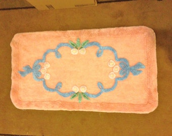 Vintage Chenille Rug Peach Pink with BLue