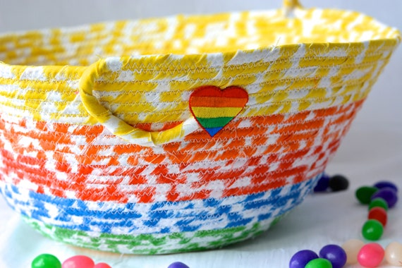 Rainbow Easter Basket, Handmade Kid's Basket, Cute Candy Bowl, Easter Decoration, Artisan Quilted Organizer, Boy Easter Bucket
