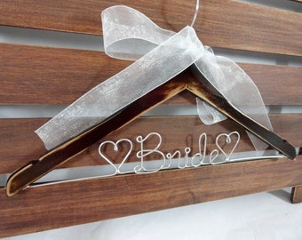 Rustic Wedding Hangers - Distressed Wooden Hangers - With Personalized Wire - Wedding Photo Props - Wire Bride Hanger - Mrs Wedding Hanger
